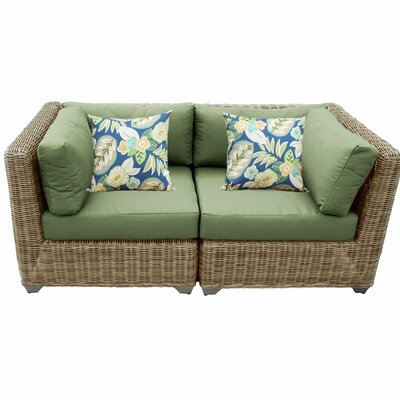 Cape Cod Outdoor Wicker Patio 2 Piece Deep Seating Group with Cushion Fabric: Cilantro