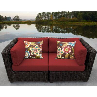 Venice Outdoor Wicker Patio 2 Piece Deep Seating Group with Cushion Fabric: Terracotta
