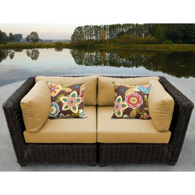 Venice Outdoor Wicker Patio 2 Piece Deep Seating Group with Cushion Fabric: Sesame