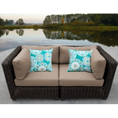 Venice Outdoor Wicker Patio 2 Piece Deep Seating Group with Cushion Fabric: Wheat