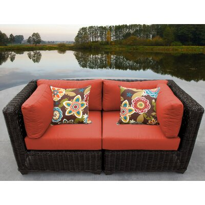 Venice Outdoor Wicker Patio 2 Piece Deep Seating Group with Cushion Fabric: Tangerine