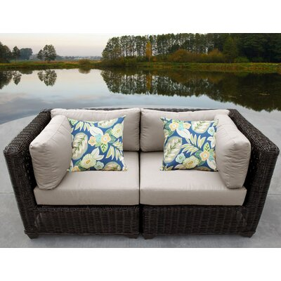 Venice Outdoor Wicker Patio 2 Piece Deep Seating Group with Cushion Fabric: Beige