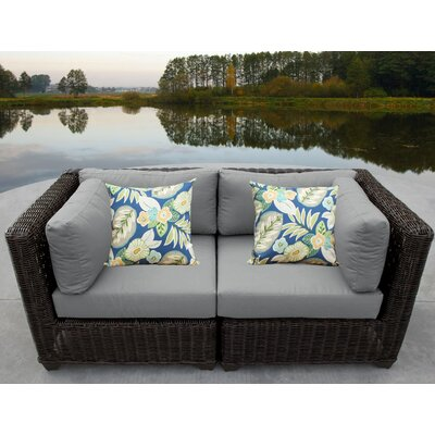 Venice Outdoor Wicker Patio 2 Piece Deep Seating Group with Cushion Fabric: Gray