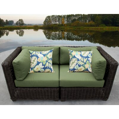 Venice Outdoor Wicker Patio 2 Piece Deep Seating Group with Cushion Fabric: Cilantro
