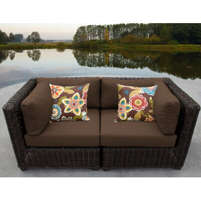 Venice Outdoor Wicker Patio 2 Piece Deep Seating Group with Cushion Fabric: Cocoa
