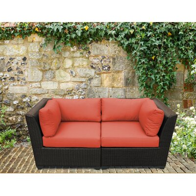 Barbados Outdoor Wicker Patio 2 Piece Deep Seating Group with Cushion Fabric: Tangerine