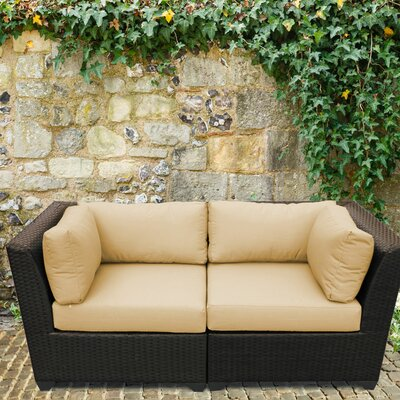 Barbados Outdoor Wicker Patio 2 Piece Deep Seating Group with Cushion Fabric: Sesame