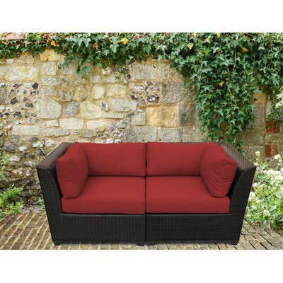 Barbados Outdoor Wicker Patio 2 Piece Deep Seating Group with Cushion Fabric: Terracotta