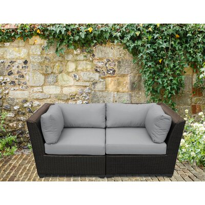 Barbados Outdoor Wicker Patio 2 Piece Deep Seating Group with Cushion Fabric: Gray