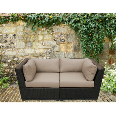 Barbados Outdoor Wicker Patio 2 Piece Deep Seating Group with Cushion Fabric: Wheat