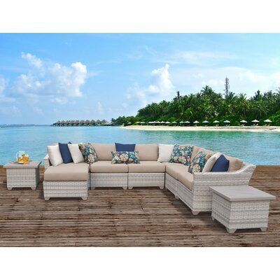 Fairmont Outdoor Wicker 9 Piece Sectional Seating Group with Cushion Fabric: Wheat