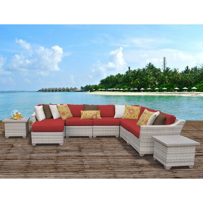 Fairmont Outdoor Wicker 9 Piece Sectional Seating Group with Cushion Fabric: Tangerine