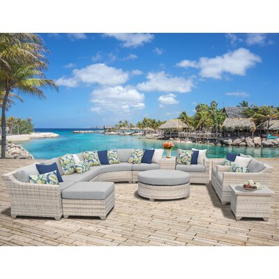Fairmont Outdoor Wicker Sectional Seating Group with Cushion Fabric: Grey