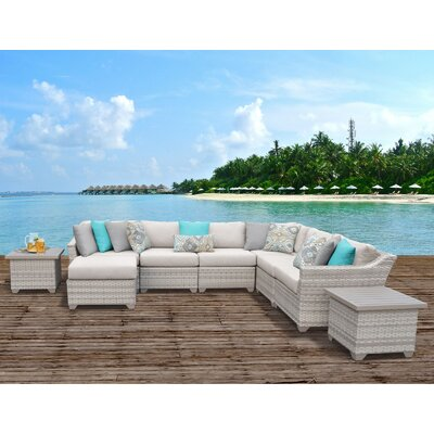 Fairmont Outdoor Wicker 9 Piece Sectional Seating Group with Cushion Fabric: Beige