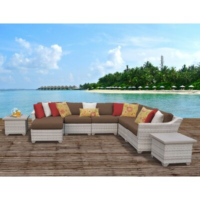 Fairmont Outdoor Wicker 9 Piece Sectional Seating Group with Cushion Fabric: Cocoa