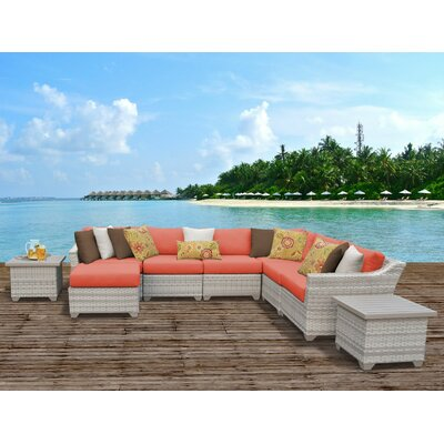 Fairmont Outdoor Wicker 9 Piece Sectional Seating Group with Cushion Fabric: Terracotta
