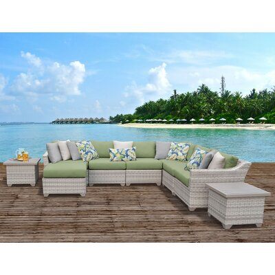 Fairmont Outdoor Wicker 9 Piece Sectional Seating Group with Cushion Fabric: Cilantro