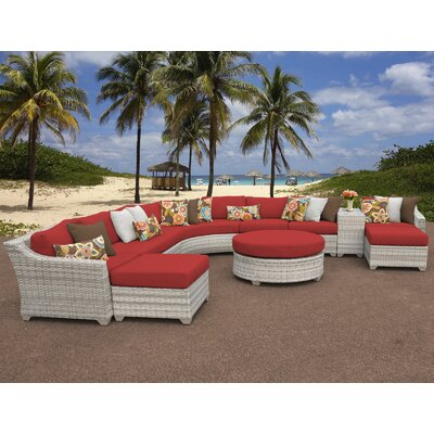 Fairmont Outdoor Wicker 11 Piece Sectional Seating Group with Cushion Fabric: Terracotta