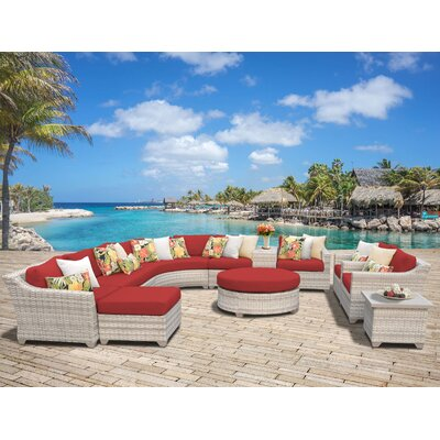 Fairmont Outdoor Wicker Sectional Seating Group with Cushion Fabric: Terracotta
