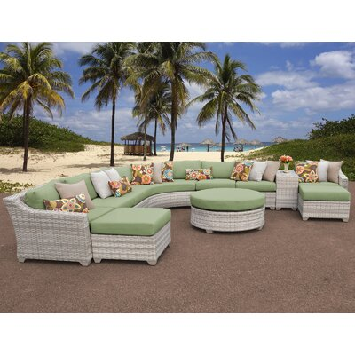 Fairmont Outdoor Wicker 11 Piece Sectional Seating Group with Cushion Fabric: Cilantro