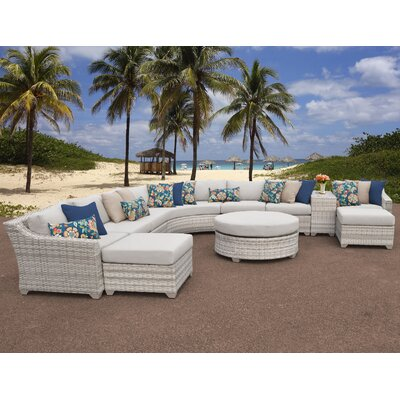 Fairmont Outdoor Wicker 11 Piece Sectional Seating Group with Cushion Fabric: Beige