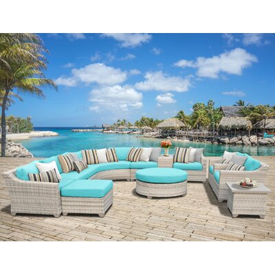 Fairmont Outdoor Wicker Sectional Seating Group with Cushion Fabric: Aruba