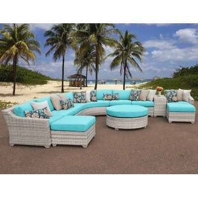 Fairmont Outdoor Wicker 11 Piece Sectional Seating Group with Cushion Fabric: Aruba