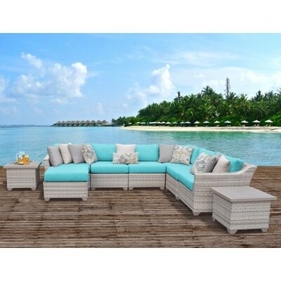 Fairmont Outdoor Wicker 9 Piece Sectional Seating Group with Cushion Fabric: Aruba