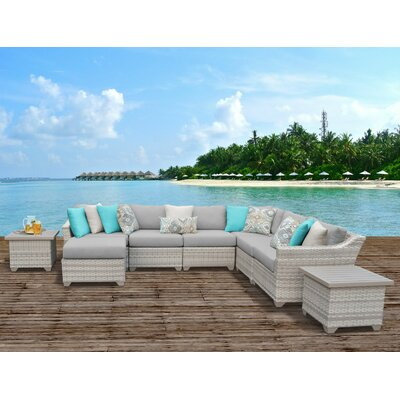 Fairmont Outdoor Wicker 9 Piece Sectional Seating Group with Cushion Fabric: Grey