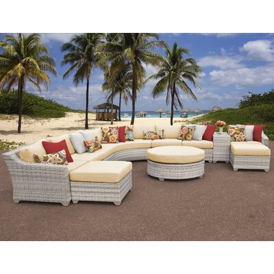 Fairmont Outdoor Wicker 11 Piece Sectional Seating Group with Cushion Fabric: Sesame