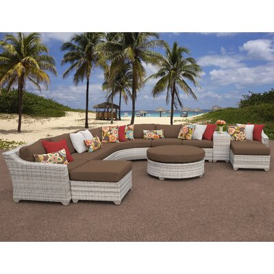 Fairmont Outdoor Wicker 11 Piece Sectional Seating Group with Cushion Fabric: Cocoa