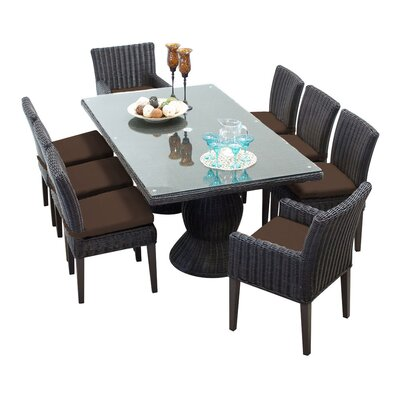 Venice 9 Piece Dining Set with Cushions Cushion Color: Cocoa