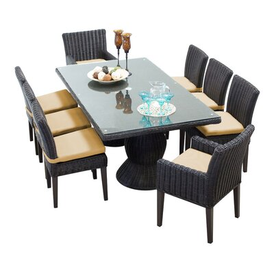 Venice 9 Piece Dining Set with Cushions Cushion Color: Sesame
