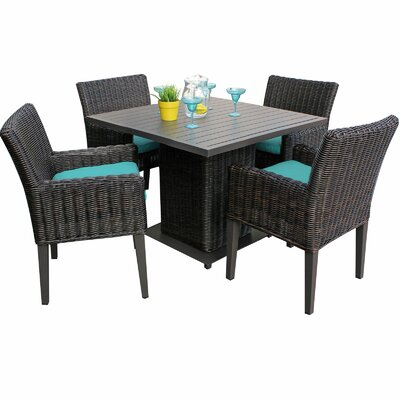Venice 5 Piece Dining Set with Cushions Cushion Color: Navy