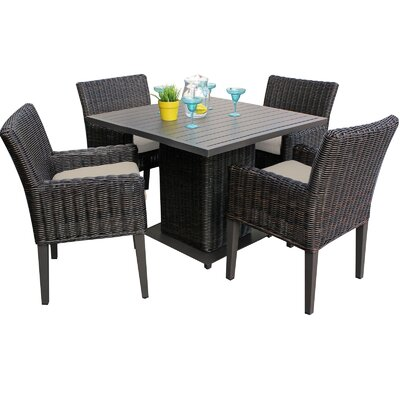 Venice 5 Piece Dining Set with Cushions Cushion Color: Beige