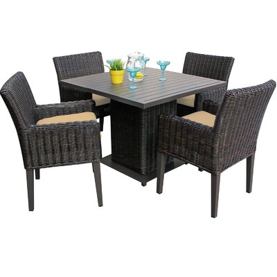 Venice 5 Piece Dining Set with Cushions Cushion Color: Sesame
