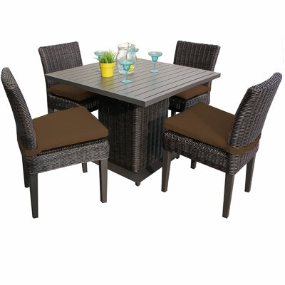 Venice 5 Piece Dining Set with Cushions Cushion Color: Cocoa