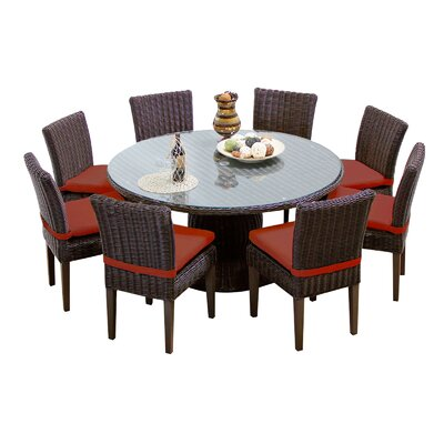 Venice 9 Piece Dining Set with Cushions Cushion Color: Terracotta