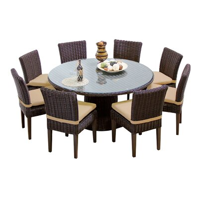 Venice 9 Piece Dining Set with Cushions Cushion Color: Wheat
