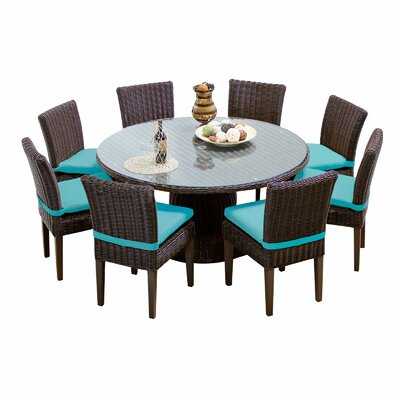 Venice 9 Piece Dining Set with Cushions Cushion Color: Aruba
