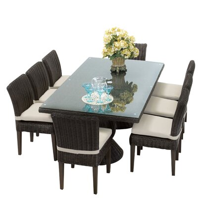 Venice 9 Piece Dining Set with Cushions Cushion Color: Beige