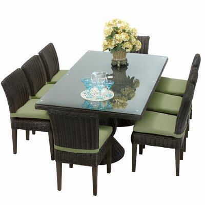 Venice 9 Piece Dining Set with Cushions Cushion Color: Cilantro