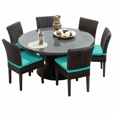 Venice 7 Piece Dining Set with Cushions Cushion Color: Aruba