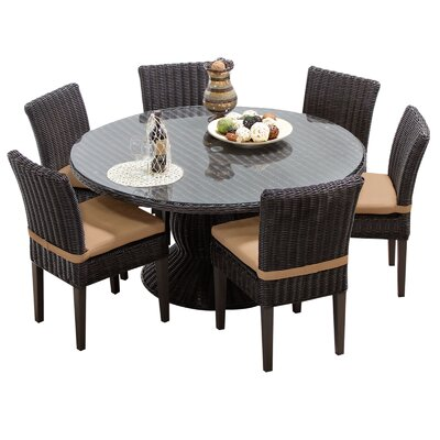 Venice 7 Piece Dining Set with Cushions Cushion Color: Wheat