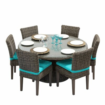 Cape Cod 7 Piece Dining Set with Cushions Cushion Color: Navy