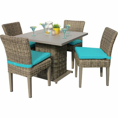 Cape Cod 5 Piece Dining Set with Cushions Cushion Color: Navy