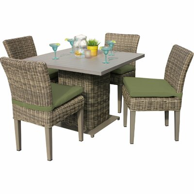Cape Cod 5 Piece Dining Set with Cushions Cushion Color: Cilantro
