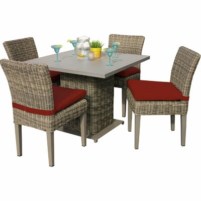 Cape Cod 5 Piece Dining Set with Cushions Cushion Color: Terracotta