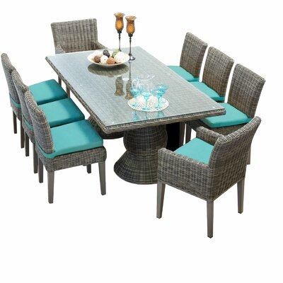 Cape Cod 9 Piece Dining Set with Cushions Cushion Color: Aruba