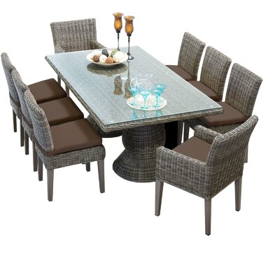 Cape Cod 9 Piece Dining Set with Cushions Cushion Color: Cocoa